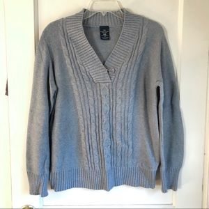 Sweaters - Grey V-Neck Cable Knit Sweater